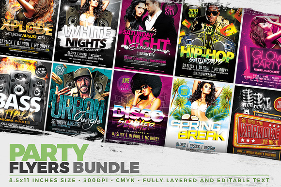 10 Party Flyer Templates + FB Covers
