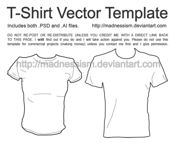 Download Free T-Shirt Vector Template