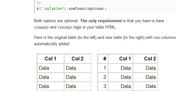 add table row count 20 jQuery Table Plugins