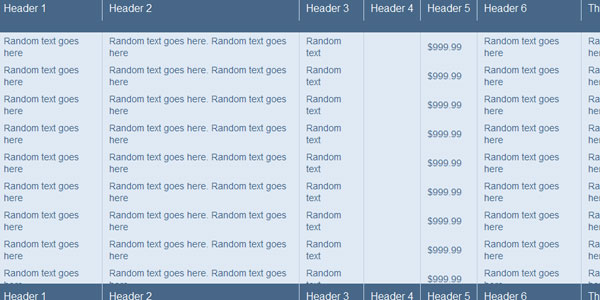 fixed header table 20 jQuery Table Plugins