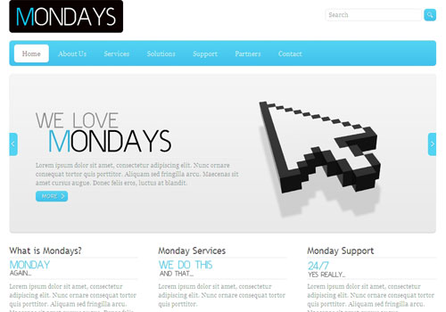 mondays 20 Free Html Template with Image Slider   Gallery Slider
