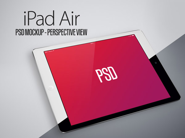 iPad Air PSD Mockup Perspective View Black & White