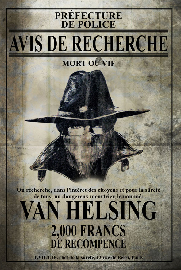 Avis De Recherche Van Helsing V2  Free Wanted Poster Template Download