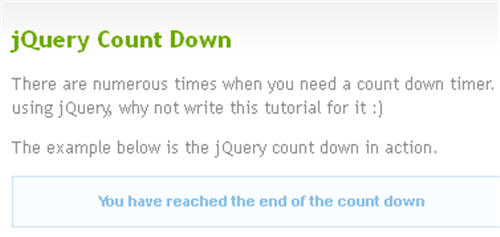jQuery Count Down