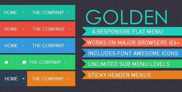 Golden Menu Responsive Flat Dropdown Menu