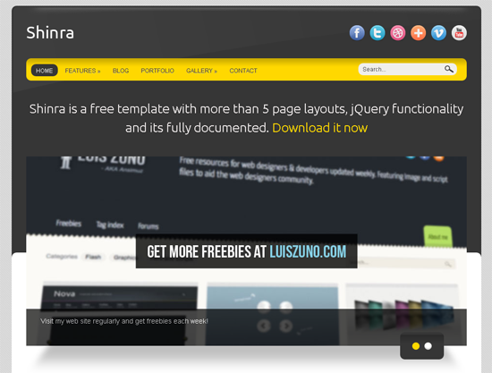 Shinra 30+ Free HTML5 and CSS3 Templates