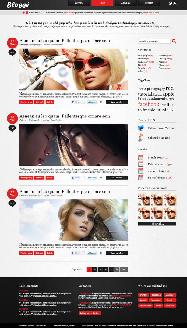 Blogge-freebie-blog-PSD-template
