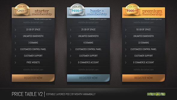 Price table set v2 psd design blog for Table design web