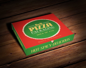 Pizza Box Packaging Mock-up PSD File