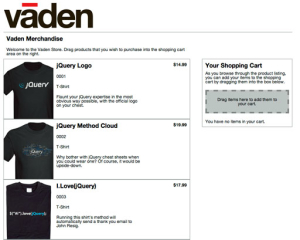 Vaden jQuery Drag and Drop Shopping Cart