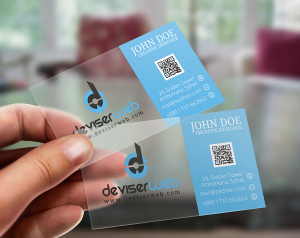 FLAT TRANSPARENT PLASTIC BUSINESS CARD TEMPLATE