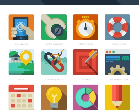 FREE DOWNLOAD- 12 FLAT SEO ICONS