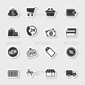 Market Icons Set as Labels