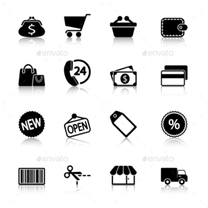 Market Icons Set with Reflection