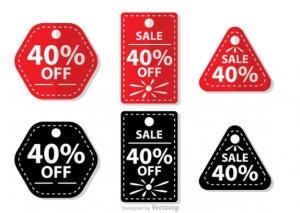 Sale tags with Sale 40 percent text