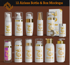 12 Airless Cosmetic Bottle & Box Mockups