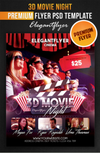 3D Movie Night - Flyer PSD Template + Facebook Cov