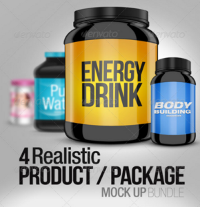 4 Realistic Product:Package Mock up Pack