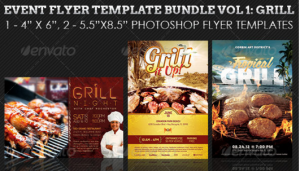 Barbeque and Grilling Event Flyer Template Bundle