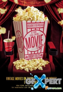 Free Flyer Template PSD - Movie Night download