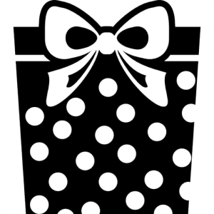 Gift square box with dots and ribbon