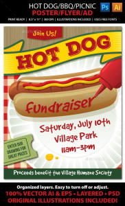 Hot Dog : BBQ : Picnic Event Poster, Flyer or Ad