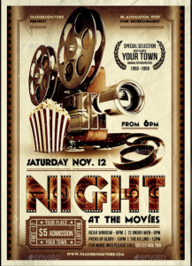 Night at the Movies Flyer + Ticket + FB Timeline