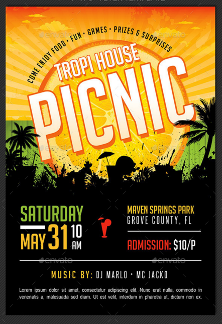 Tropical Picnic Flyer Template