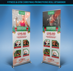 Fitness & Gym Christmas Promotions Roll Up Banners