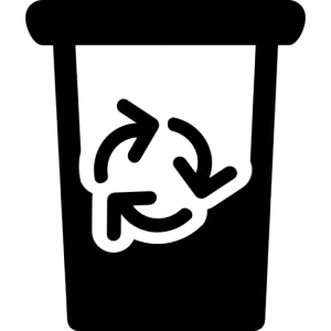 Garbage can half full with recycle symbol