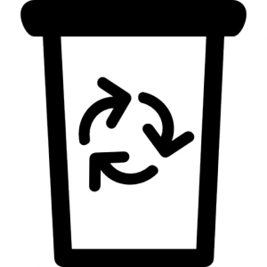 Garbage can with recycling symbol