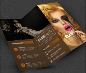 Glam Beauty Salon Trifold Brochure Indesign