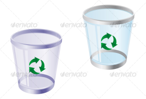 Glossy recycle bin isolated on white for web design