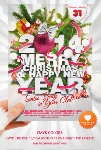 Happy Christmas and New Year Party Flyer