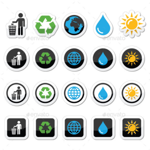 Man and Bin, Recycling, Globe, Eco Power Icons Set 15