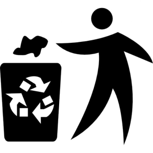 Man throwing paper in recycle container